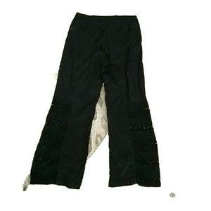 Mind Set by XCVI black cotton and crochet pants L